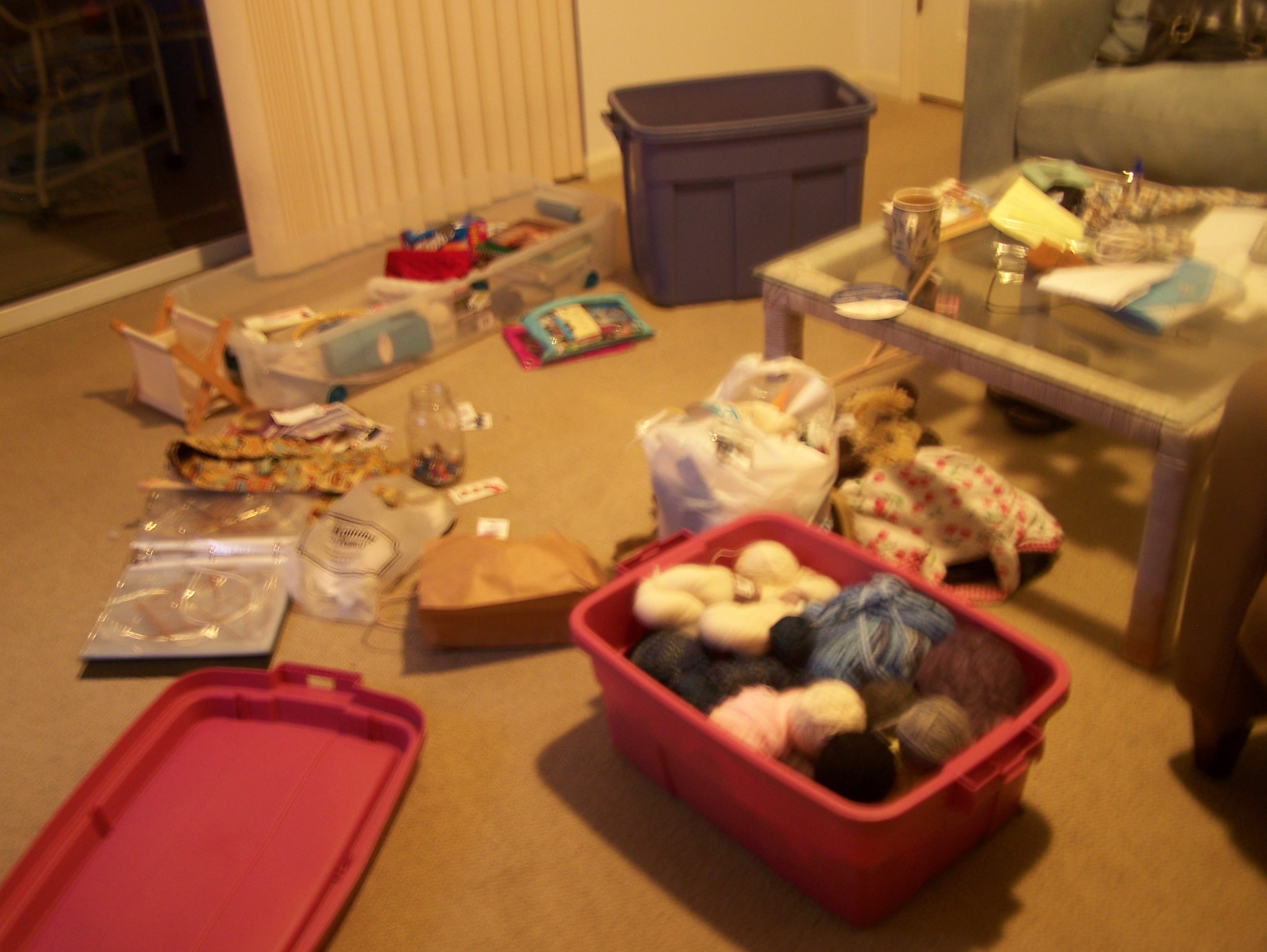 Trying to organize.  This is what taking up knitting really means!